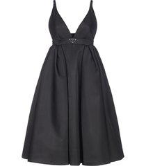 prada logo-plaque re-nylon dress