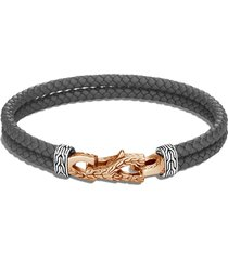 'asli classic chain' sterling silver bronze leather double bracelet