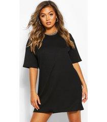 jumbo geribde oversized t-shirtjurk, zwart