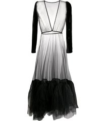alchemy velvet-sleeved tulle gown - black