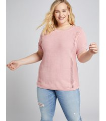 lane bryant women's pointelle-stitch sweater tee 22/24 bridal rose