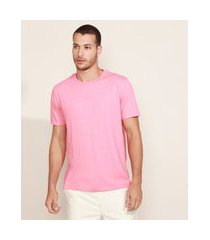 camiseta masculina básica manga curta gola careca rosa