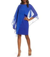 women's eliza j chiffon cape cocktail dress, size 18 (similar to 14w) - blue