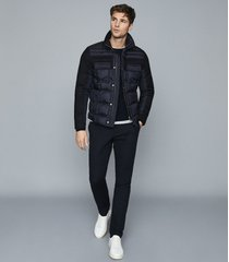 reiss barrett - quilted jacket with contrast sleeves in navy, mens, size xxl