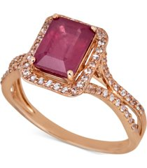certified ruby (1-1/2 ct. t.w.) & white sapphire (1/3 ct. t.w.) ring in 14k rose gold (also in sapphire & emerald)