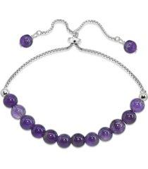 genuine stone bead adjustable bracelet in fine silver plate