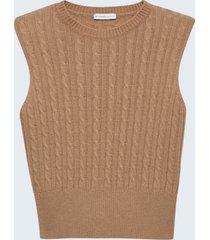 motivi gilet a trecce misto lana donna marrone