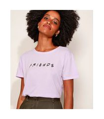 camiseta feminina friends manga curta decote redondo lilás