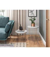mesa lateral redonda 30 carrara pé de ferro dourado- líder design