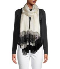 la fiorentina women's wool & silk lace-trim scarf - grey