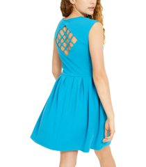 emerald sundae juniors' lattice-back fit & flare dress