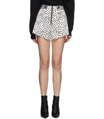 button waist tab graphic print satin shorts