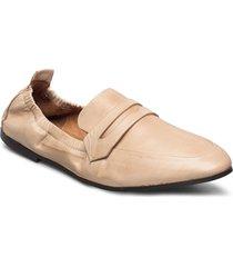 biastory leather loafer loafers låga skor beige bianco