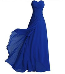 blevla sweetheart long chiffon pleated bridesmaid dresses prom evening gown r...