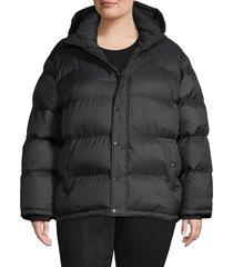 bagatelle women's plus sport hooded short puffer jacket - red - size 2x (18-20)