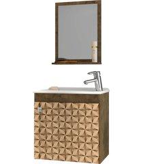 conjunto p/ banheiro siena madeira rãºstica bechara - bege - dafiti