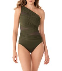 women's miraclesuit jena one-shoulder one-piece swimsuit, size 10 - green