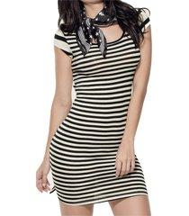 vestido corto marfil negro atypical