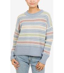 hippie rose juniors' striped crewneck sweater