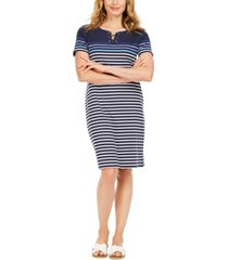 karen scott mirage cotton striped lace-up dress, created for macy's