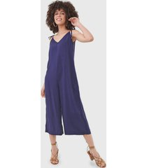 macacã£o mercatto pantacourt amarraã§ã£o azul-marinho - azul marinho - feminino - viscose - dafiti