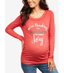 motherhood maternity we're trading our silent nights for a bundle of joy graphic tee