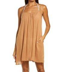 women's elan cover-up slipdress, size large - brown (nordstrom exclusive)