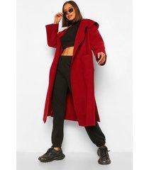 oversized nepwollen jas met grote kraag, burgundy