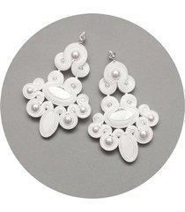 duże białe kolczyki ślubne z perłami - sutasz