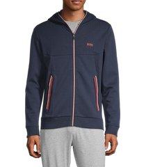 boss hugo boss men's full-zip hoodie - navy - size l