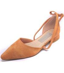 zapato gamuza tiras cruzadas naranjo mailea
