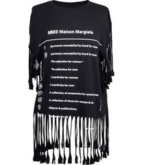 mm6 maison margiela mm6 cotton jersey t-shirt with fringes