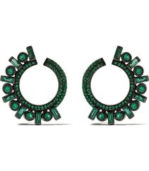 colette 18kt black gold emerald hoop earrings