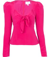 tie front blouse pink