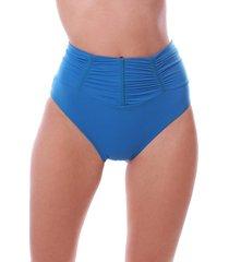 calcinha de biquini simony lingerie tanga alta franzida ambra beach azul