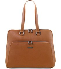 tuscany leather tl141630 lucca - borsa business tl smart in pelle morbida per donna cognac
