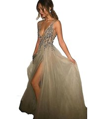 deep v neck sexy prom dress gown champagne 2017 formal evening party dress