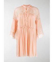 chloé flared silk dress