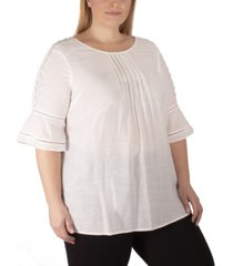 ny collection women's plus size scoop neck bell sleeve blouse with crochet and pleating