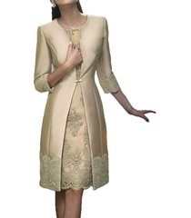 blevla satin appliqued mother of the bride dresses with jackets champagne us 14