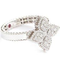 'princess flower' diamond 18k white gold ring