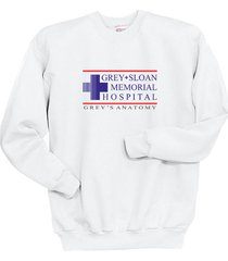 grey + sloan memorial hospital greys anatomy crewneck sweatshirt white
