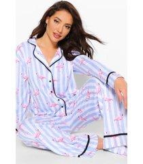 gestreepte flamingo pyjama set met broek, blauw