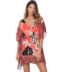 vestido coral-multicolor maaji swimwear beach belladonna kaftan