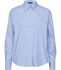 d1. tp striped business exb shirt overhemd met lange mouwen blauw gant