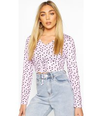 mock tie front top with lettuce hem, lilac