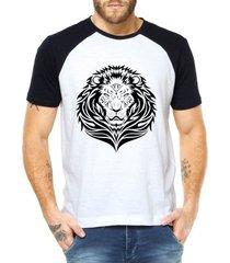 camiseta criativa urbana leão tribal