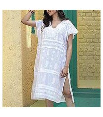 embroidered cotton shift dress, 'paisley garden in white' (india)