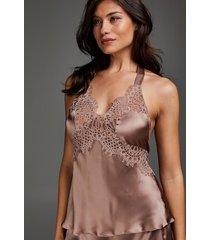 hunkemöller scallop lace pyjamaslinne i silke rosa