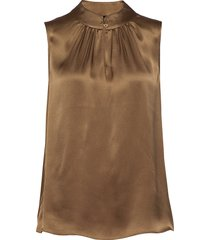 double silk - prosi top blouse mouwloos bruin sand